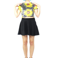 90s Sequin Crop Top Sunflower Print Floral Cropped Tshirt Club Kid Fly Girl Crop Top (XS/S)