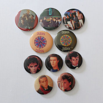 1980s Duran Duran Pin 80s Music Button Duran Badges - Chose from Andy Taylor, Roger Taylor, Simon Le Bon, Nick Rhodes, John Taylor