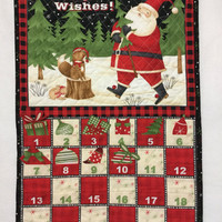 Advent Calendar Quilted, Woodland Advent Calendar, Santa Advent Calendar Wall Hanging, Christmas Countdown Calendar