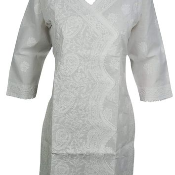 Mogul Interior Womans Yoga Tunic Cotton Floral Hand Embroidered Indian Kurta Caftan Beach White Dress