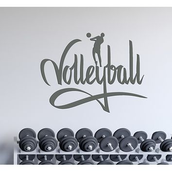 Wall Decal Volleyball Sport Sign I Love Volleyball Unique Interior Decor (z1144)