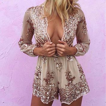 2016 Women Lace Playsuit Deep V-neck sequin Playsuit Hot Sexy Pajamas Style mesh Romper Loose Overalls Macacao Feminino