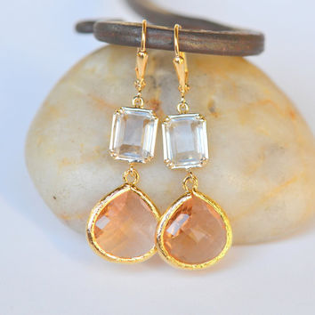 Large Champagne Peach Teardrop and Clear Rectangle Jewel Post Drop Earrings. Champagne Dangle Earrings. Jewelry Gift for Her.
