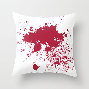 Forensic Blood Splatter Throw Pillow - Red and White