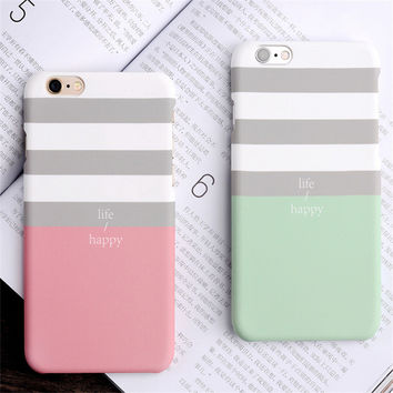 South Korean simple Style Pink striped  Painted Phone Cases For iphone5 5s 6 6s 6 plus 6s Plus matte hard couple for iphone case