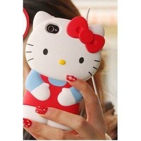 "Newest 3D Hello Kitty iPhone 4S/4G/4 Silicon Hard Case/Cover/Faceplate/Protector-Red-""Perfect Edition"""