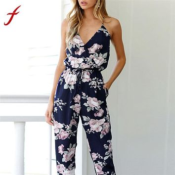 jumpsuits for women 2018  Women Backless rompers womens jumpsuit Sleeveless V-Neck Floral Printed Casual Brand bodysuit women