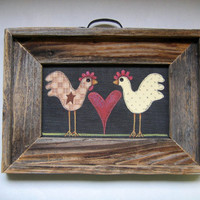 Folk Art, Chickens Framed in Rustic Barn Wood, Tole Painted, Heart and Handle, Home Decor