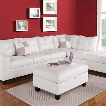 Acme 51175 2 pc kiva collection white bonded leather match upholstered reversible sectional sofa