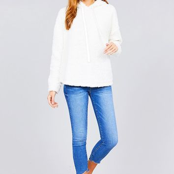 Plus Size Long Sleeve Hoodie Off White Top