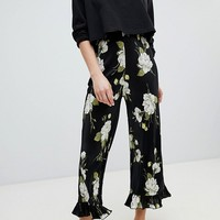 Miss Selfridge Floral Printed Plisse Ruffle Hem Trouser at asos.com