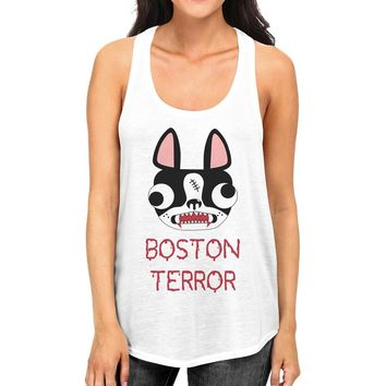 Boston Terror Terrier Womens White Tank Top