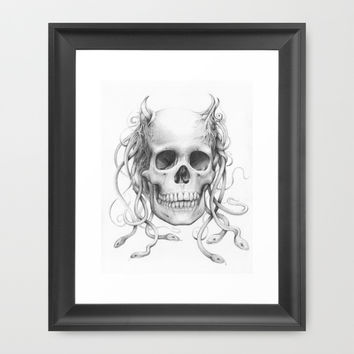 Medusa Skull Pencil Drawing, Snakes Framed Art Print by Olechka