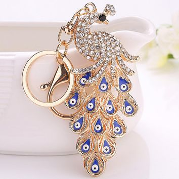 Gold Color Keyring Key Holder New 1PC Crystal Rhinestone Turkish Evil Eye Keychain Peacock Amulet