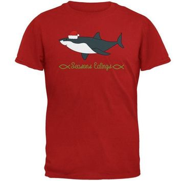 LMFCY8 Christmas Shark Seasons Greetings Funny Pun Mens Soft T Shirt