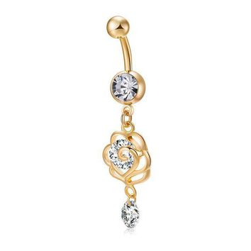 ac ICIKO2Q Fashion Belly Button Rings Golden Flower Stainless Steel Barbell Dangle  Double Butterfly Navel Piercing Body Jewelry