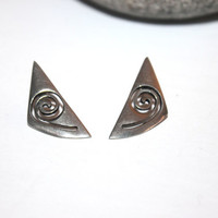 Vintage Abstract Silver Earrings, Post Backing, Duri Signed, Triangle, Antique Alchemy