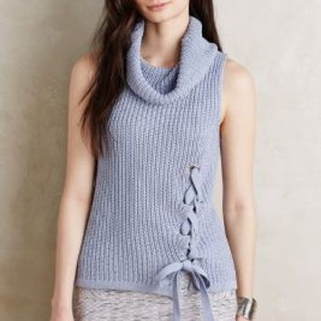 Moth Lace-Up Turtleneck Tank in Lavender Size: