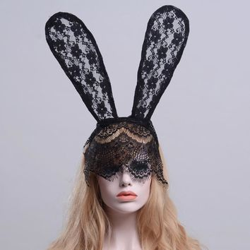 Halloween Women Hairbands Novelty Mask Dance Party lace rabbit ears