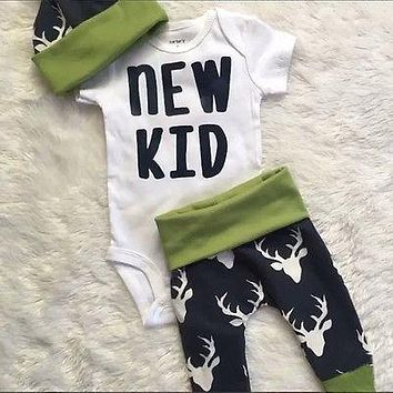 3pcs/Set ! Autumn style infant clothes baby clothing sets boy Cotton Long sleeve Romper+pants+hat  3pcs suit baby boy clothes