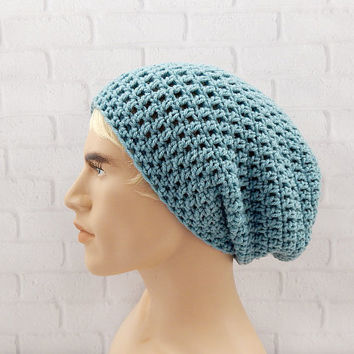 Grunge Style Hat, Crochet Slouch Beanie, Beanie for Men, Hipster, Winter Beanie, Sea Blue Slouch Hat, Vegan Friendly, Baggy Hat, Slouchy Hat