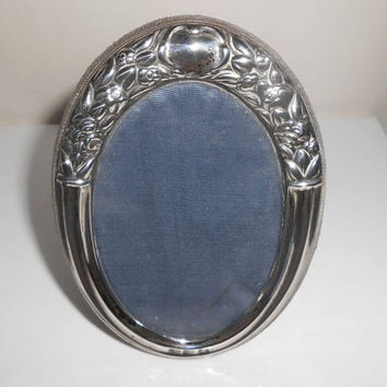 Sterling Repousse Picture Frame Frienze Italy Vintage Oval Picture Holder