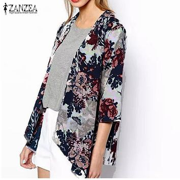 ZANZEA 2018 Fashion Womens Boho Kimono Cardigan Shawl Chiffon Flower Printed Blouses Ladies Tops 3/4 Sleeve Cover Ups S-6XL