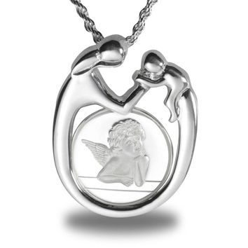 Sterling Silver Mother & Child Angel Necklace