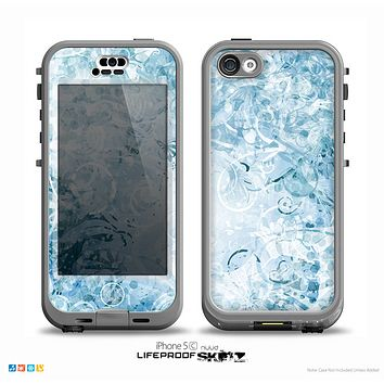 The Bright Light Blue Swirls with Butterflies Skin for the iPhone 5c nüüd LifeProof Case