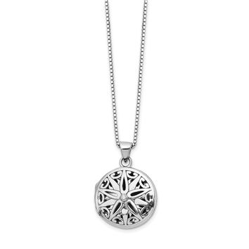 Sterling Silver White Ice Diamond Star Locket Necklace