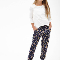 FOREVER 21 GIRLS Smocked Rose Print Joggers (Kids) Navy/Cream