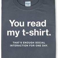 Enough Social Interaction T-Shirt - Charcoal,