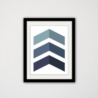 "Geometric Chevron Poster. Minimalist. Blue Gradient. Simple. Home Decor. Wall Art. Art Print. Custom Colors. 8.5x11"" Print."