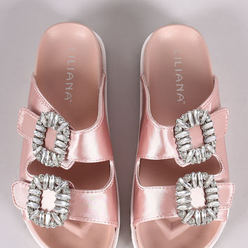 Liliana Satin Rhinestone Embellished Double Band Slide Sandal | UrbanOG