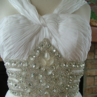 Wedding dress grecian style silk beaded by RetroVintageWeddings