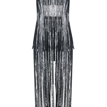 Silver Print Fringe Bandage Dress