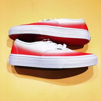 "2018 Original Vans Authentic ""Ombre Pink/True White"" Sport Shoes Sneakers"