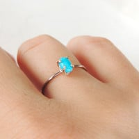 Turquoise Gold Ring, Sleeping Beauty Ring, Yellow Gold Ring, Prong Ring, Engagement Ring, Stacking Ring, 14k Gold Ring, Baby Shower Gift