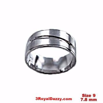 Lined Design Matte & Shiny 18k layer on Sterling Silver Ring Band 7.8 mm Size- 9