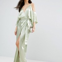 ASOS Kimono Plunge Cold Shoulder Wrap Maxi Dress at asos.com