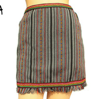 High Waisted, Pencil skirt, Tribal Miniskirt with Fringe in Peruvian fabric, Peruvian textile, Multicolor, Woven, with Inca fabric