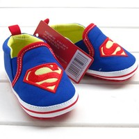 Retail 1pcs baby shoes for boy girls blue S superman baby cotton toddler shoes bebe size 2 3 4 for baby kids child first walker