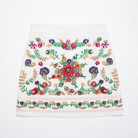 Colorful Floral Embroidered Skirt