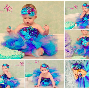 Under the Sea 3 Pc Headband, barefoot sandals, bracelet gift set, baby girl purple turquoise glass pearl beads elastic First Birthday Outfit