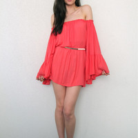 Red Rose Off-Shoulder Trumpet-Sleeve Ruffled Dress