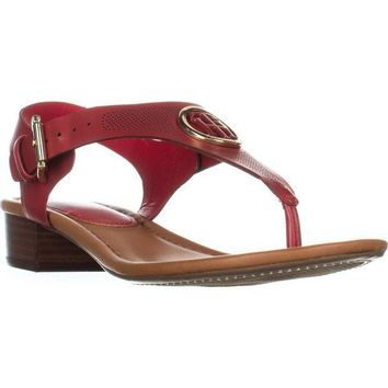 Tommy Hilfiger Kandess Flat Thong Sandals, Medium Red, 8 US