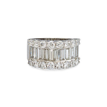 Bessa 18K White Gold Round & Baguette Diamond Ring, 3.88 TDW, Size 6.5