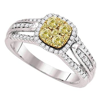14kt White Gold Women's Round Yellow Diamond Cluster Bridal Wedding Engagement Ring 3/4 Cttw - FREE Shipping (US/CAN)