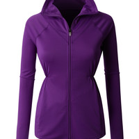 LE3NO PREMIUM Womens Active Full Zip Up Long Sleeve Running Sports Jacket (CLEARANCE)