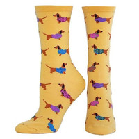 Socksmith Yellow Haute Dog Crew Socks